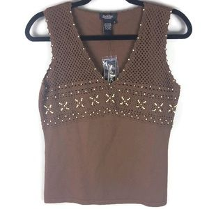 NWT Peck & Peck Crocheted Wood Beaded V Neck Tank